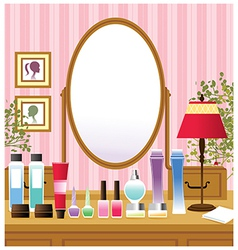 Makeup beauty table vector image vector image