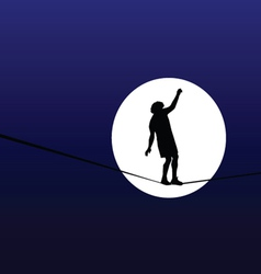 Man walking a tightrope in the moonlight vector