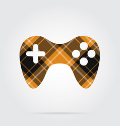 Orange black tartan isolated icon - gamepad vector