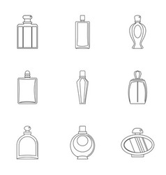 Perfume bottle icon set outline style vector