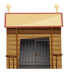 Prison room with sign on top vector