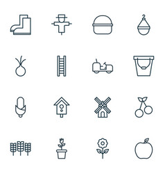 Set of 16 farm icons includes birdhouse package vector