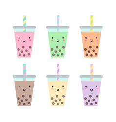 Set of different cups with bubble tea vector
