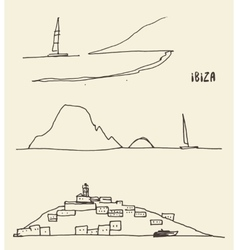 Set sketches ibiza landscapes vector