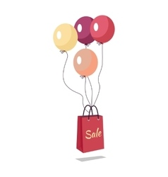 Shopping bag with text sale flying on balloons vector