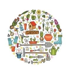 Spring garden doodles in circleColored flowers vector image vector image