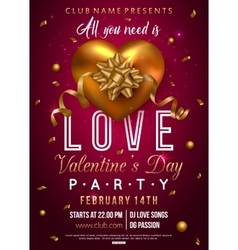 Valentines party flyer design with gold heart bow vector