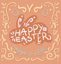 vintage happy easter lettering vector image