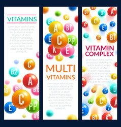 Vitamin and mineral complex pills banners vector