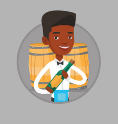 waiter holding bottle of alcohol vector image vector image