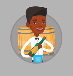 Waiter holding bottle of alcohol vector