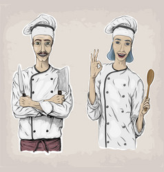 Woman and men caucasian cook chef worker in chefs vector