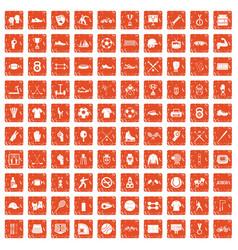 100 athlete icons set grunge orange vector