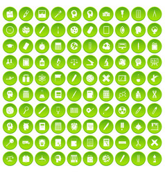 100 learning icons set green vector