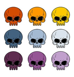 Skull set colored skull set of multi-colored head vector