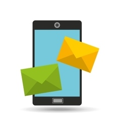 Smartphone two envelope message design vector