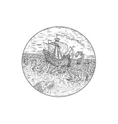 Tall ship turbulent sea serpents black and white vector