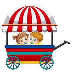 Two babies on wagon vector