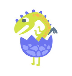 cute baby dinosaur hatching prehistoric animal vector image