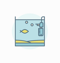 Home fish tank colorful icon vector