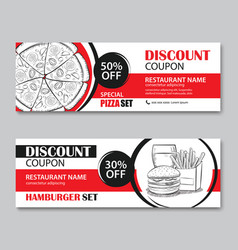 Fast food gift voucher and coupon sale discount vector