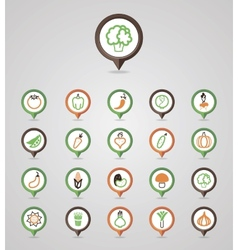 Vegetables mapping pins icons vector