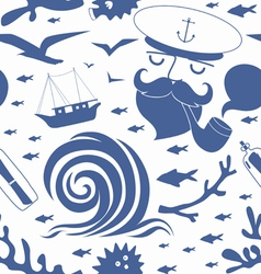 Seamless pattern with sea captain vector