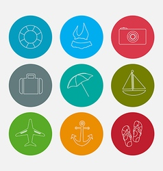 Summer line icons set vector