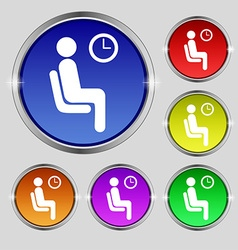 Waiting icon sign round symbol on bright colourful vector
