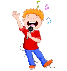 Cartoon singing happily while holding the mic vector
