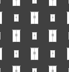 Cupboard icon sign seamless pattern on a gray vector