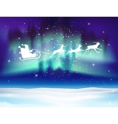 Reindeer and santa claus on northern lights vector
