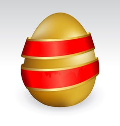 Gold easter egg tied with red ribbon vector