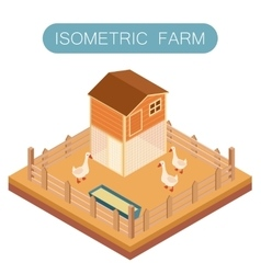 Isometric farm house for goose vector image