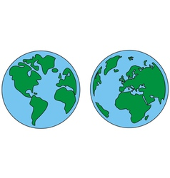 Planet earth green and blue vector