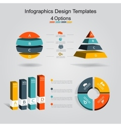 Set of infographics design template with 4 options vector