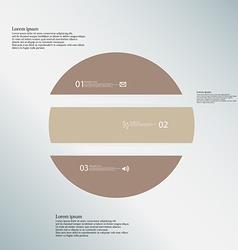 Circle horizontaly divided to three brown parts on vector