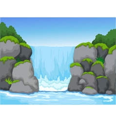 Waterfall with landscape view background vector