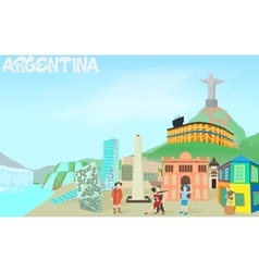 Argentina travel concept cartoon style vector