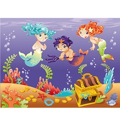 Baby Sirens and Baby Triton with background vector image vector image