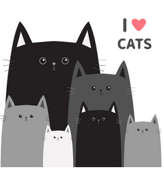black gray cat head face different size i love vector image