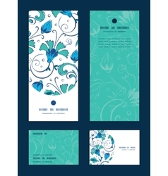 Blue green swirly flowers vertical frame vector