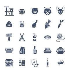 Cat care pet shop flat silhouettes icons vector image vector image