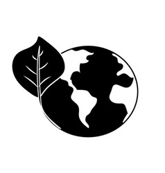 Contour global earth planet with leaf symbol to vector