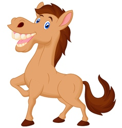 Cute cartoon brown horse vector