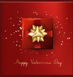 Decorative gift box with gold bow valentines day vector