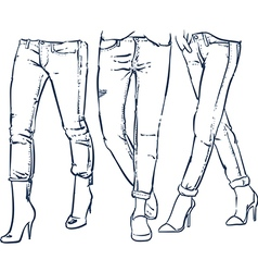 Drawing womens fashionable denim jeans outline vector