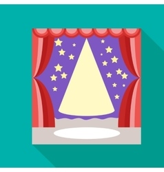 Empty scene with stage curtain icon flat style vector