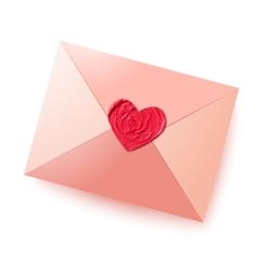 Envelope with sealing wax in the form of heart vector image