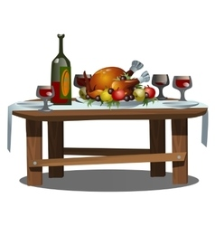Festive table with food and alcohol vector
